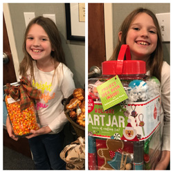 Abby Britain was close to guessing the exact number of candy corns in the jar. Congratulations!
